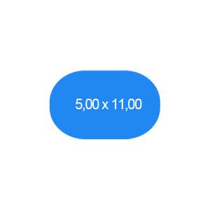 Ovalbecken 500 x 1100 cm T=120 cm