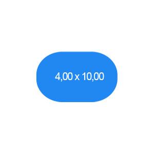Ovalbecken 400 x 1000 cm T=150 cm