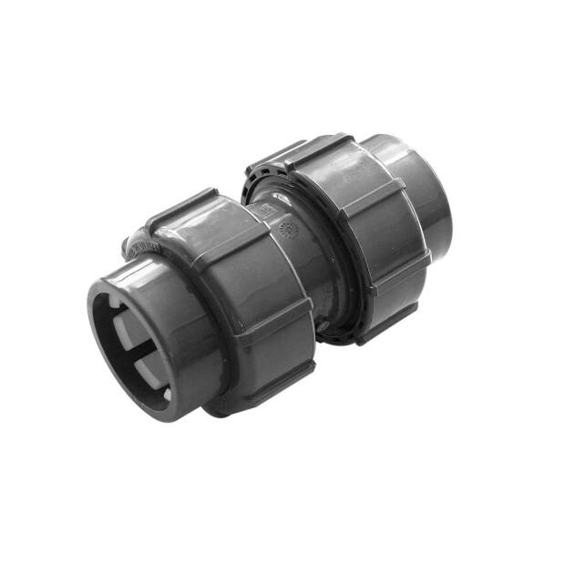 Flex-Fit PVC-U Doppelverschraubung Klemm/ Klemm d 50 Klemm x  d 50 Klemm