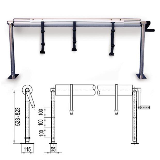 Aufrollvorrichtung DELUXE höhenverstellbar zur Festmontage bis 6,90  m