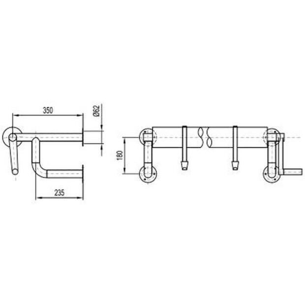 Aufrollvorrichtung DELUXE zur Wandmontage bis 6,90  m 260 - 430 cm
