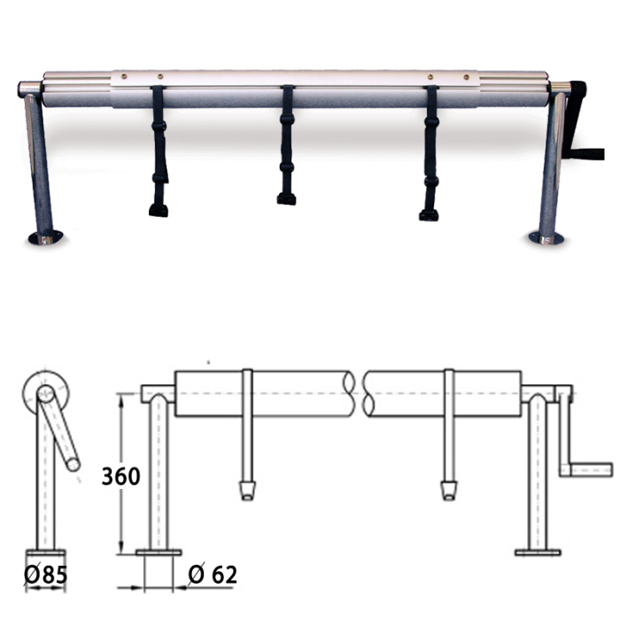 Aufrollvorrichtung DELUXE Fixmontage 410 - 570 cm