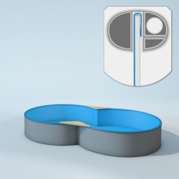 Pool Innenhülle Achtform- 470 x 300 cm T= 90 cm - 0,6 mm blau