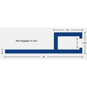 Keilbiesen-Profil rund 90° f. Beton B45mm - 150/150mm