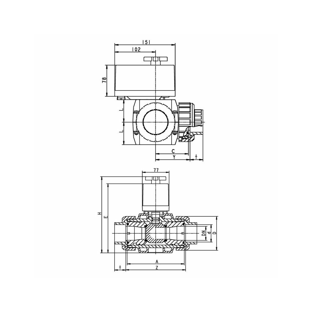 Dreiwegekugelhahn S4 Solar PVC 50mm 230V Stellmotor EO510