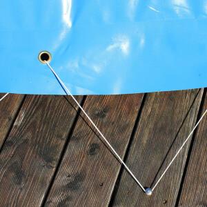 Aufblasbare Poolabdeckung Rund - Sommer und Winterabdeckung in blau