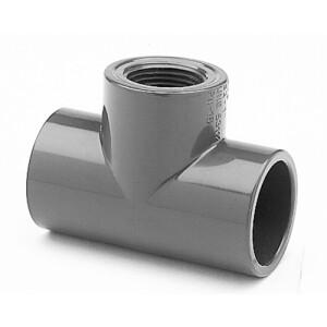 """T-Stück PVC 90° 2x Klebemuffe 50mm x 1 1/2"""" IG"""