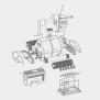 2 Schaumstoffbürsten, schwarz mit 14 Befestigungsclipsen für  Rolphon - W0887A -