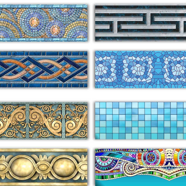 Selbstklebende Pool-Bordüren in vielen Varianten