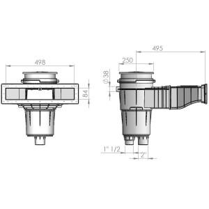 Slim-line Skimmer aus ABS-Kunststoff