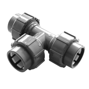 Flex-Fit PVC-U Übergangs T-Stück  3x Klemmverbindung