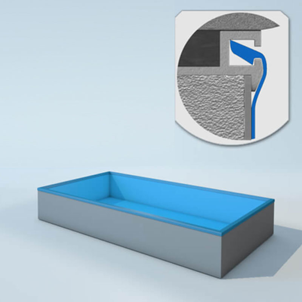 Poolfolie rechteck - T 150 cm - 0,8 mm - blau (eckige Ecken)