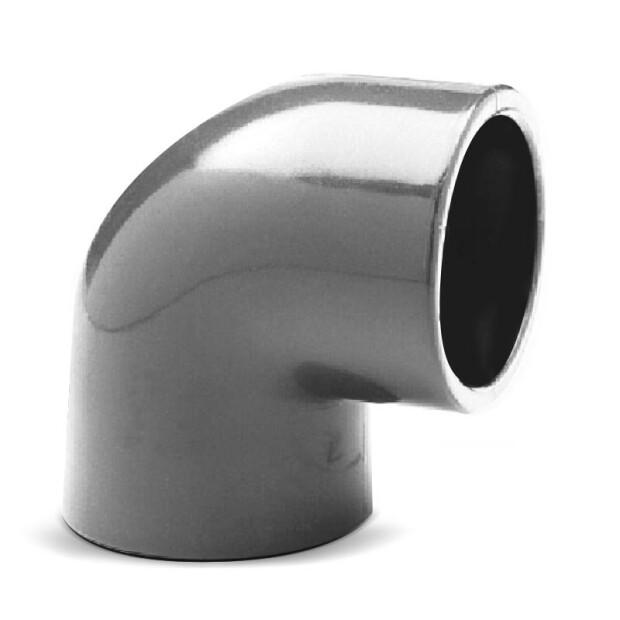 Winkel PVC 90° allseitig Klebemuffen für Rohr 50mm schwarz