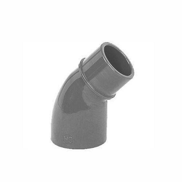 Reduzierwinkel PVC 45° 2xKlebemuffe, 1 Stutzen für Rohr 63mm