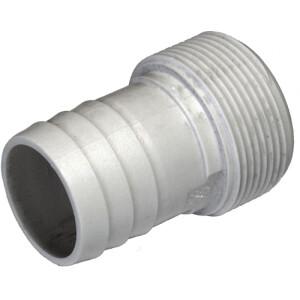 """Druckschlauchtüllen in verschiedenen Ausführungen 1 1/2"""" AG x 32/38 mm weiß gerippt"""