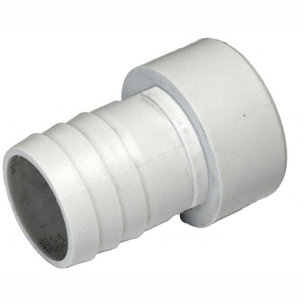 Druckschlauchtüllen in verschiedenen Ausführungen Ø 50 mm Klebe x 38 mm weiß gerippt