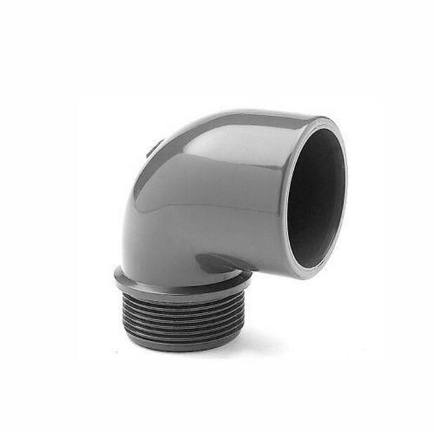 """Winkel PVC 90° Klebemuffe/ Aussengewinde Rohr 50 mm x 1 1/2"""""""