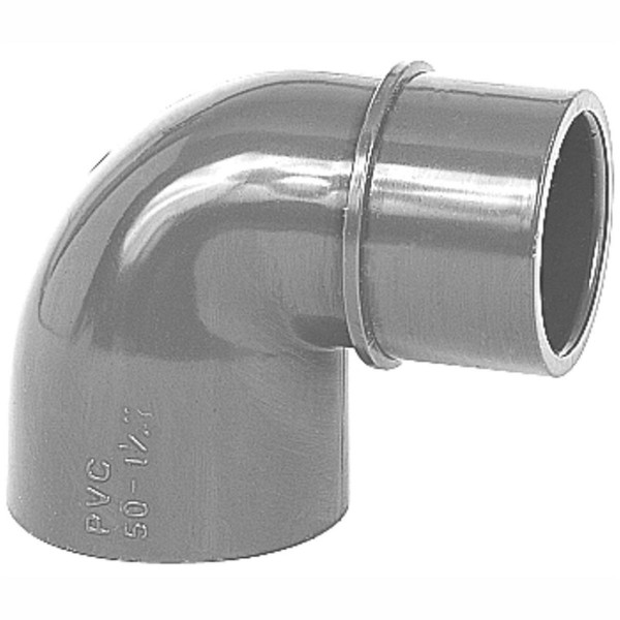 Reduzierwinkel PVC 90° 2 x Klebemuffe, 1 Stutzen Rohr 50/40 x 50 mm
