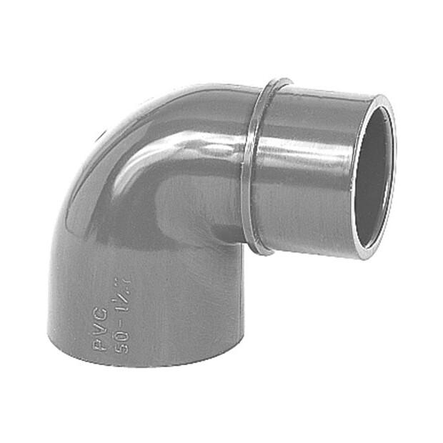 Reduzierwinkel PVC 90° 2xKlebemuffe, 1 Stutzen Rohr 50/40 x 50 mm schwarz