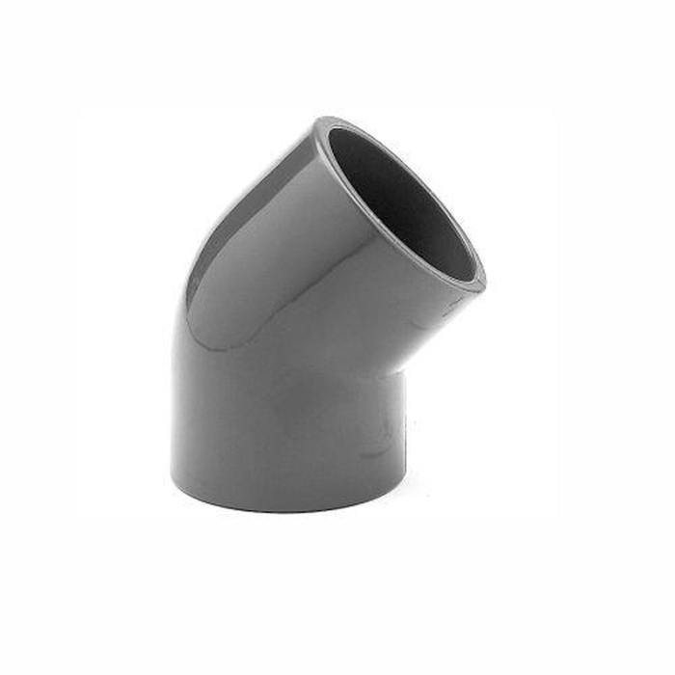 Winkel PVC 45° aus Rohr, allseitig Klebemuffen für Rohr 50mm