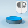 Schwimmbecken Poolfolie rund - 350 x 120 cm x 0,6 mm - PVC blau Einhängebiese