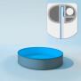 Schwimmbecken Poolfolie rund - 460 x120 cm x 0,6 mm - PVC blau Einhängebiese