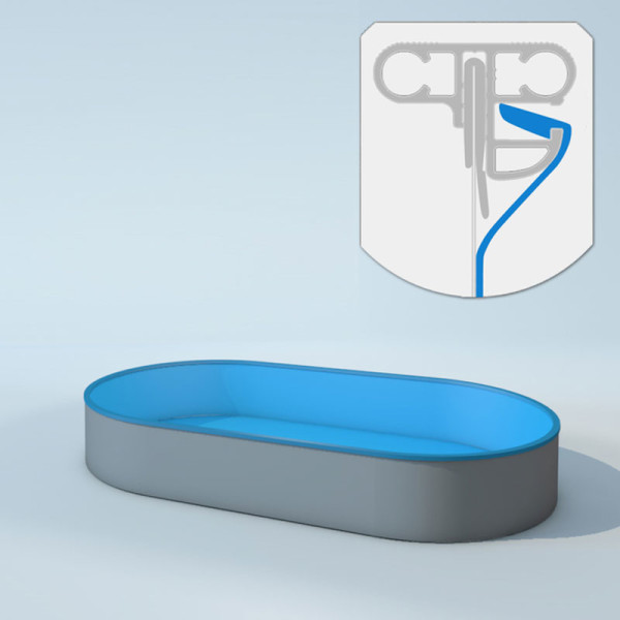 Schwimmbecken Innenhüllen oval mit Keilbiese - T=150 cm x 0,6 mm - PVC blau 460 x 916 cm