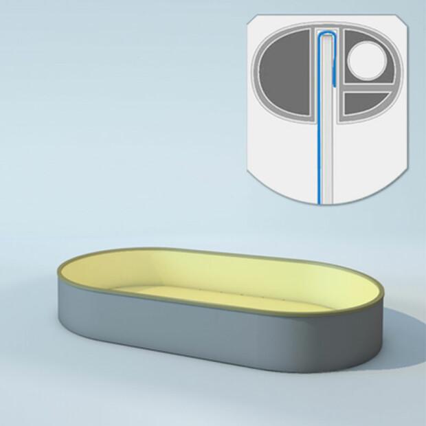Schwimmbecken Innenhüllen oval - T=120 cm x 0,8 mm - PVC sand 360 x 737 cm