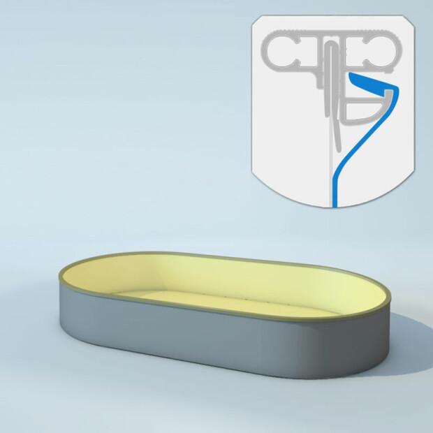 Schwimmbecken Innenhüllen oval - T=120 cm x 0,8 mm - PVC sand Keilbiese