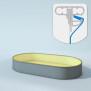 Schwimmbecken Innenhüllen oval - T=120 cm x 0,8 mm - PVC sand 360 x 702 cm