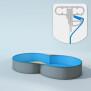 Schwimmbecken Innenhülle Achtform - Keilbiese - 150 cm x 0,6 mm - blau 500 x 855 cm