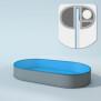 Schwimmbecken Innenhüllen oval - T=150 cm x 0,8 mm - PVC blau 400 x 800  cm