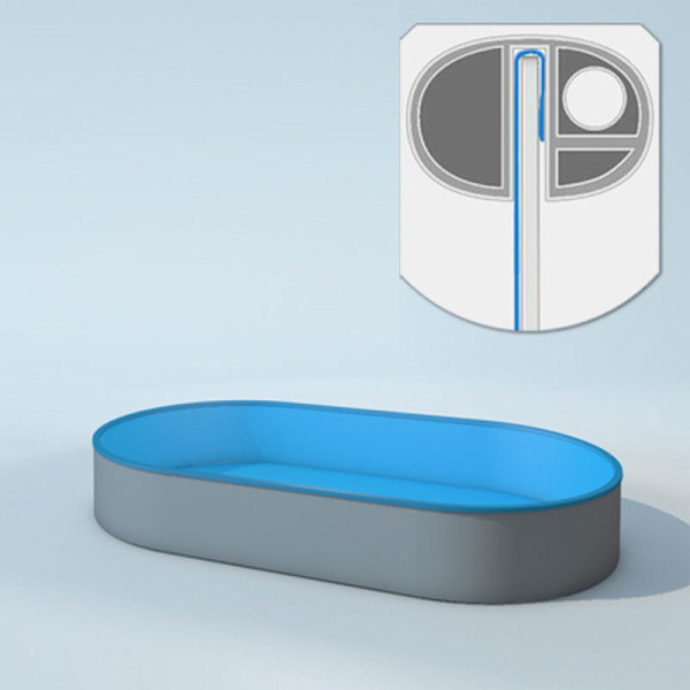 Schwimmbecken Innenhüllen oval - T=150 cm x 0,8 mm - PVC blau 460 x 916 cm